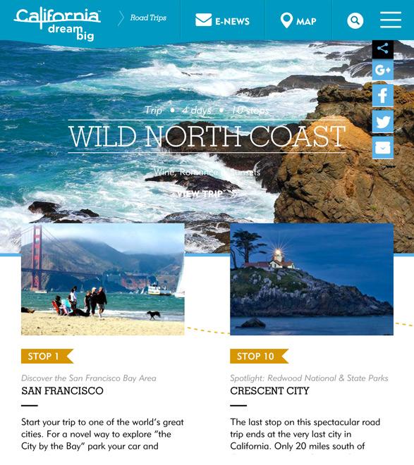 世界のDMO - カルフォルニア観光協会のウェブサイト