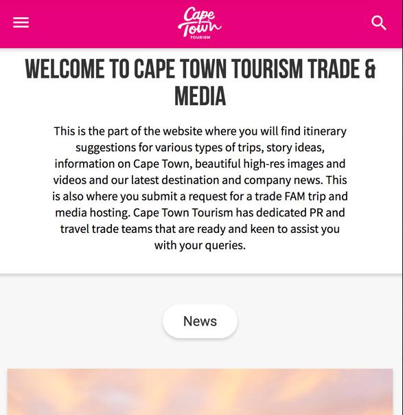 世界のDMO - ケープタウン観光協会 旅行業界プレス向けページ